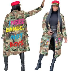 NWT Bands Not Boys Green Camouflage Trench Coat